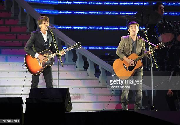 Yujin Kitagawa and Koji Iwasawa of folk/ pop duo Yuzu perform during the 23rd anniversary of the death of the Hibari Misora concert on November 11...