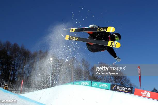 YuJin Yang of Korea competes in the FIS Freestyle World Cup Ski Halfpipe Qualification at Bokwang Snow Park on February 16 2017 in Pyeongchanggun...