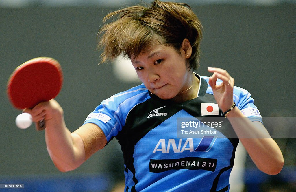 Yuka Ishigaki of Japan competes in the game against Krisztina Ambrus of Hungary during day two of the 2014 World Team Table Tennis Championships at Yoyogi National Gymnasium on April 29, 2014 in Tokyo, Japan.