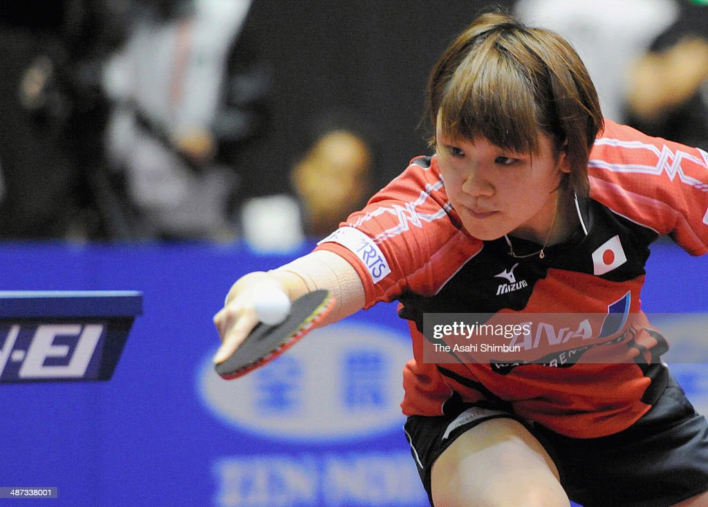 Yuka Ishigaki of Japan competes in the game against Lily Zhang of the United States during day two of the 2014 World Team Table Tennis Championships at Yoyogi National Gymnasium on April 29, 2014 in Tokyo, Japan.