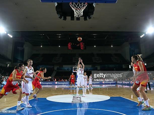 Yuka Mamiya of Japan shoots a free throw during the 2014 FIBA World Championship For Women Group A basketball match between Japan and Spain at the...