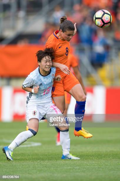 Yuka Momiki of Japan and Sherida Spitse of Netherlands head the ball during the Women's International Friendly match between Netherlands and Japan at...