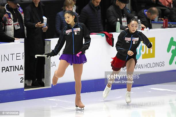 Yuka Nagai and Rika Hongo of Japan are seen prior to the Women's Singles Short Program during day one of the 2016 Skate Canada International at...