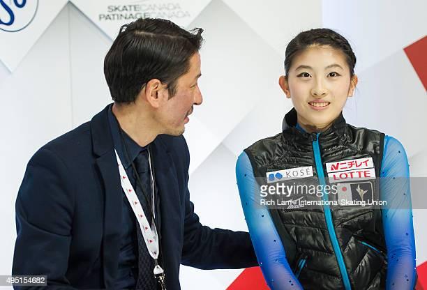 Yuka Nagai of Japan and her coach Megumu Seki after the Ladies Free Skate on day two of Skate Canada International ISU Grand Prix of Figure Skating...
