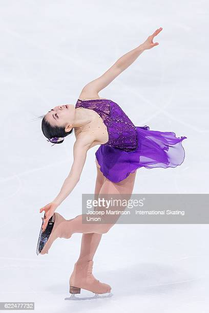 Yuka Nagai of Japan competes during Ladies Short Program on day one of the Trophee de France ISU Grand Prix of Figure Skating at Accorhotels Arena on...