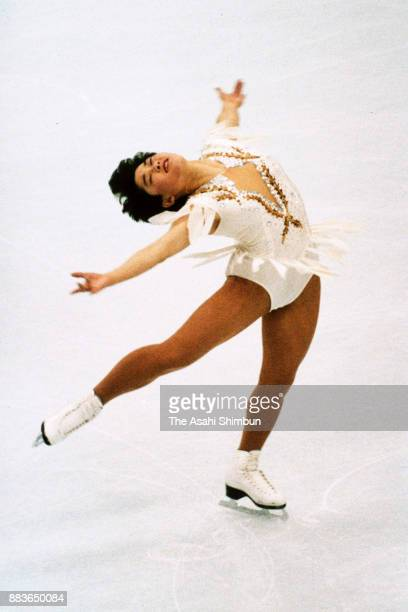 Yuka Sato of Japan competes in the Women's Singles Free Program during the Albertville Olympic at the Halle Olympique on February 21 1992 in...