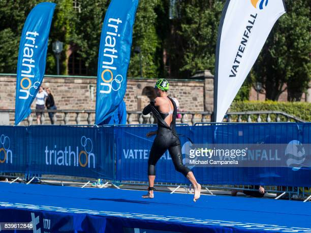 Yuka Sato of Japan during the women's elit race of the Vattenfall World Triathlon Stockholm on August 26 2017 in Stockholm Sweden