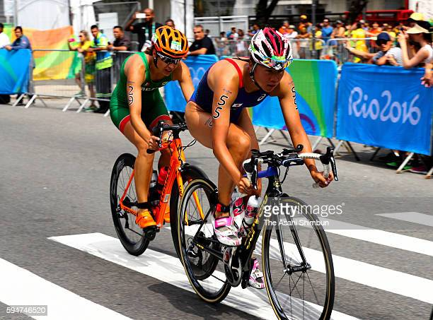 Yuka Sato of Japan rides in the Women's Triathlon on Day 15 of the Rio 2016 Olympic Games at Fort Copacabana on August 20 2016 in Rio de Janeiro...