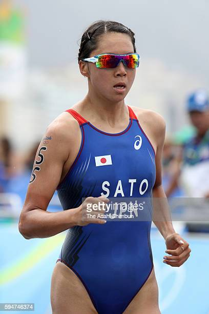 Yuka Sato of Japan runs in the Women's Triathlon on Day 15 of the Rio 2016 Olympic Games at Fort Copacabana on August 20 2016 in Rio de Janeiro Brazil