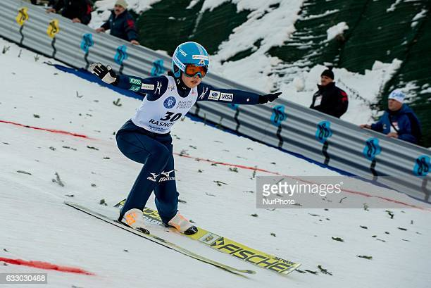 Yuka Seto competes during the Normal hill individual probe at the FIS Ski Jumping World Cup in Rasnov central Romania on January 29 2017