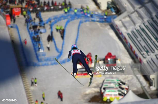 Yuka Seto of Japan competes during a trial round of the Normal Hill Individual event of the FIS Ski Jumping World Cup in Pyeongchang on February 16...