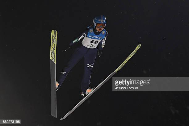 Yuka Seto of Japan competes in Ladies' HS106 during the FIS Ski Jumping World Cup Ladies 2017 In Zao at Zao Jump Stadium on January 21 2017 in...