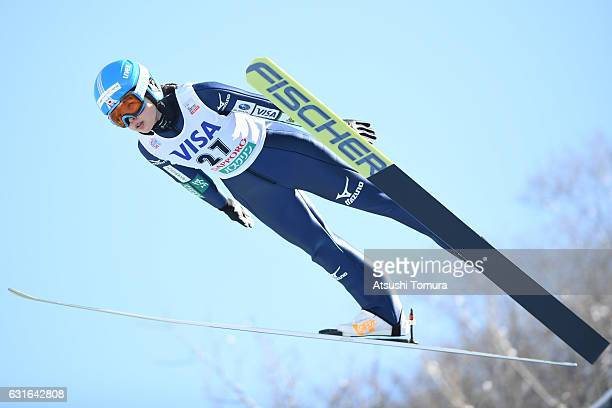 Yuka Seto of Japan competes in the Normal hill Individual during the FIS Women's Ski Jumping World Cup Sapporo at the Miyanomori Ski jump stadium on...