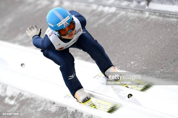 Yuka Seto of Japan competes in the Women's Ski Jumping HS100 qualification rounds during the FIS Nordic World Ski Championships on February 23 2017...