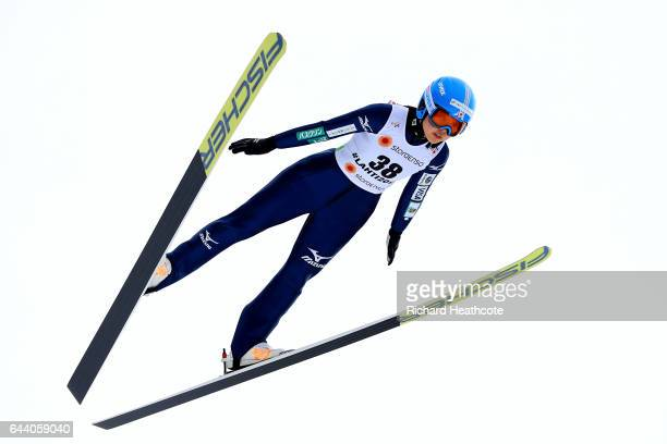 Yuka Seto of Japan makes a practice jump prior to the Women's Ski Jumping HS100 qualification rounds during the FIS Nordic World Ski Championships on...