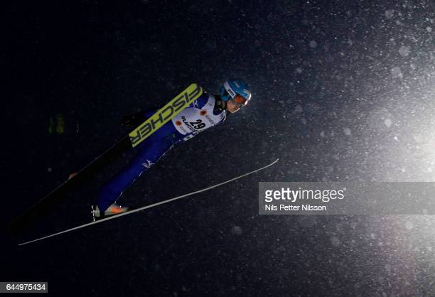 Yuka Seto of Japanduring the women's ski jumping HS100 during the FIS Nordic World Ski Championships on February 24 2017 in Lahti Finland