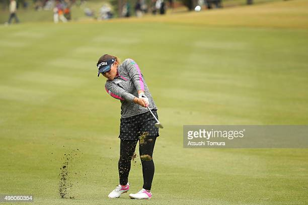 Yukari Baba of Japan hits her 2nd shot on the 9th hole during the second round of the Higuchi Hisako Ponta Ladies at the Musashigaoka Golf Course on...