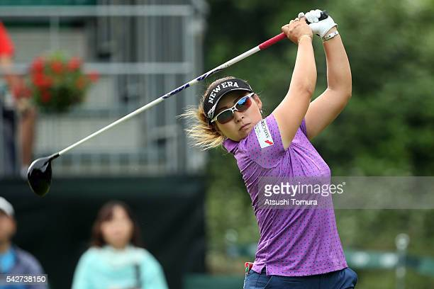 Yukari Baba of Japan hits her tee shot on the 10th hole during the second round of the Earth Mondamin Cup at the Camellia Hills Country Club on June...