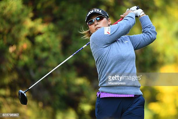 Yukari Baba of Japan hits her tee shot on the 13th hole during the first round of the Daio Paper Elleair Ladies Open 2016 at the Elleair Golf Club on...