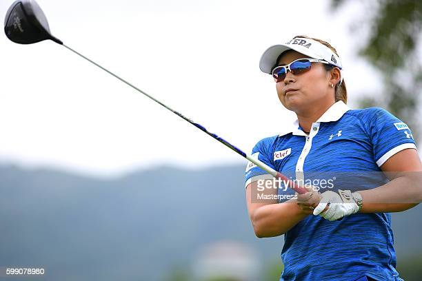 Yukari Baba of Japan hits her tee shot on the 2nd hole during the third round of the Golf 5 Ladies Tournament 2016 at the Golf 5 Country Bibai Course...