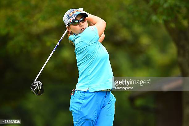 Yukari Baba of Japan hits her tee shot on the 3rd hole during the second round of the Earth Mondamin Cup at the Camellia Hills Country Club on June...