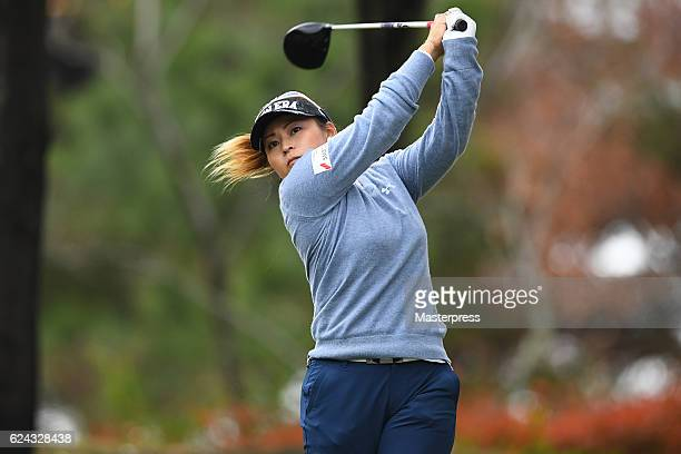 Yukari Baba of Japan hits her tee shot on the 7th hole during the third round of the Daio Paper Elleair Ladies Open 2016 at the Elleair Golf Club on...
