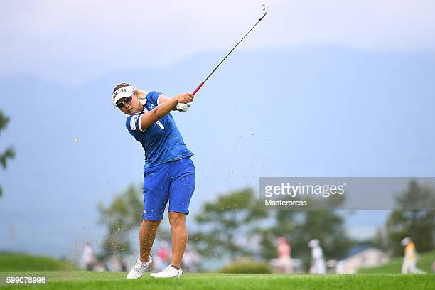 Yukari Baba of Japan hits her tee shot on the 8th hole during the third round of the Golf 5 Ladies Tournament 2016 at the Golf 5 Country Bibai Course...