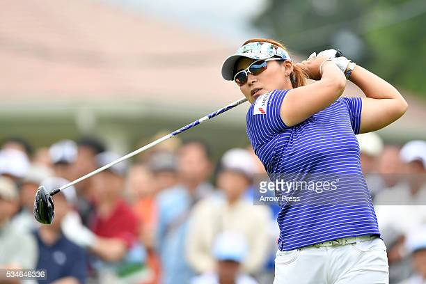 Yukari Baba of Japan hits her tee shot on the the 1st hole during the first round of the Resorttrust Ladies at the Grandee Naruto Golf Club XIV on...