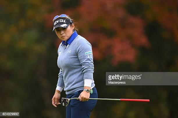 Yukari Baba of Japan looks on during the third round of the Daio Paper Elleair Ladies Open 2016 at the Elleair Golf Club on November 19 2016 in...