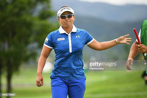 Yukari Baba of Japan looks on during the third round of the Golf 5 Ladies Tournament 2016 at the Golf 5 Country Bibai Course on September 4 2016 in...