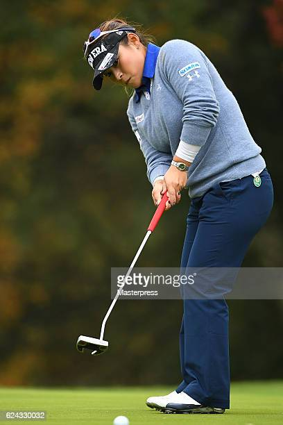 Yukari Baba of Japan putts during the third round of the Daio Paper Elleair Ladies Open 2016 at the Elleair Golf Club on November 19 2016 in...