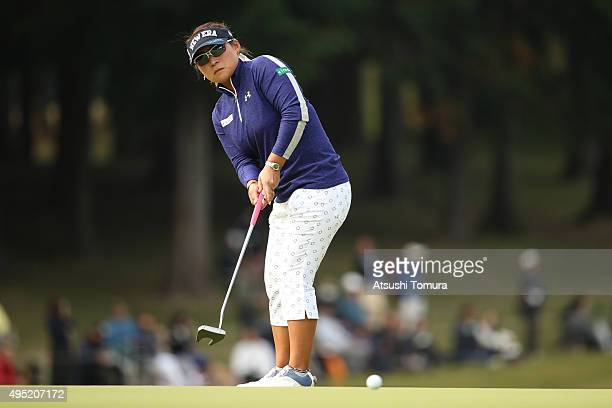 Yukari Baba of Japan putts on the 9th green during the final round of the Higuchi Hisako Ponta Ladies at the Musashigaoka Golf Course on November 1...
