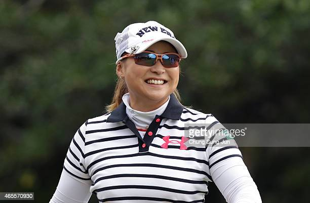 Yukari Baba of Japan reacts after a tee shot during the final round of the Daikin Orchid Ladies Golf Tournament at the Ryukyu Golf Club on March 8...