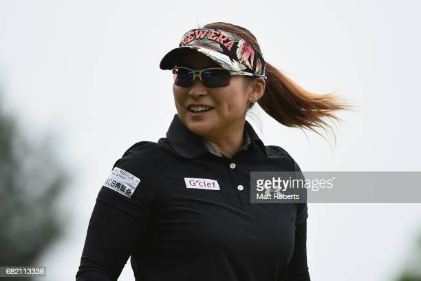 Yukari Baba of Japan smiles after her tee shot on the 10th hole during the first round of the HokennoMadoguchi Ladies at the Fukuoka Country Club...