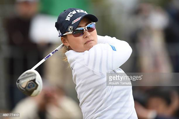 Yukari Baba of Japan tees off on the 1st hole during the second round of the Yokohama Tyre PRGR Ladies Cup at the Tosa Country Club on March 14 2015...