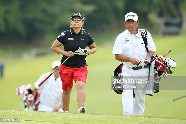 Yukari Baba of Japan walks up to the 18th green during the second round of the Yonex Ladies Golf Tournament 2016 at the Yonex Country Club on June 4...