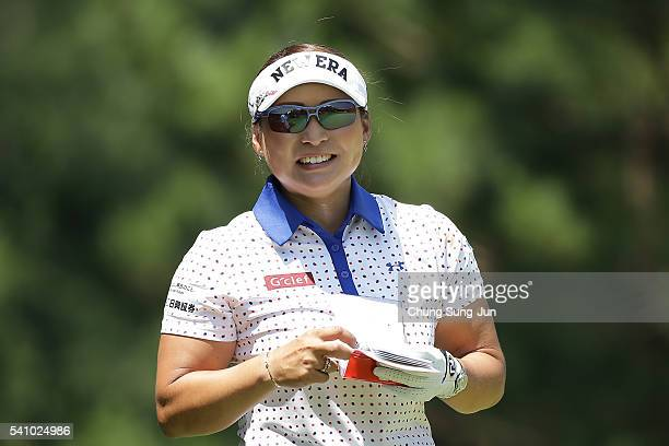 Yukari Baba smiles on the fifth hole during the second round of the Nichirei Ladies at the Sodegaura Country Club Shinsode Course on June 18 2016 in...