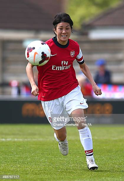 Yukari Kinga of Arsenal attacks during the FA Women's Super League match between Arsenal Ladies and Bristol Academy Women at Meadow Park on May 25...
