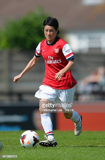Yukari Kinga of Arsenal in action during the FA Womens Super League match between Arsenal Ladies and Manchester City Ladies at Meadow Park Stadium on...