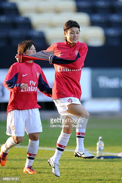 Yukari Kinga of Arsenal Ladies FC in action during the FA WSL 1 match between Notts County Ladies FC and Arsenal Ladies FC at the Meadow Lane Stadium...