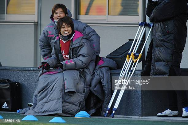 Yukari Kinga of INAC Kobe Leonessa looks on during the 34th Empress's Cup All Japan Women's Football Tournament final match between INAC Kobe...