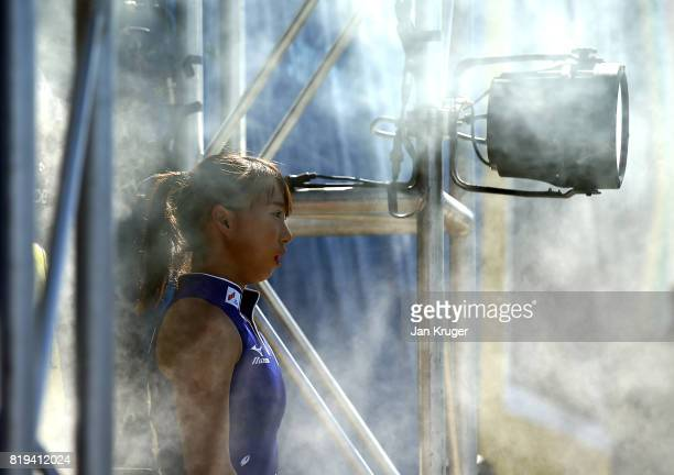 Yukari Mano of Japan lines up in the tunnel with her team ahead of the 5th/ 8th place playoff match between India and Japan at Wits University on...
