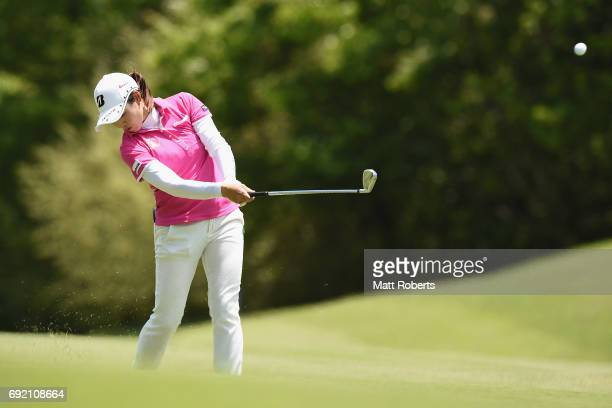 Yukari Nishiyama of Japan hits her second shot on the 6th hole during the final round of the Yonex Ladies Golf Tournament 2016 at the Yonex Country...
