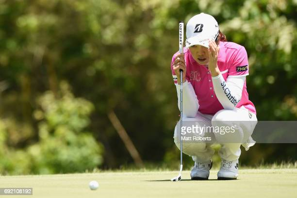 Yukari Nishiyama of Japan prepares for her putt on the 6th green during the final round of the Yonex Ladies Golf Tournament 2016 at the Yonex Country...