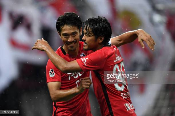 Yuki Abe of Urawa Red Diamonds celebrates scoring his team's second goal during the JLeague J1 match between Urawa Red Diamonds and Jubilo Iwata at...