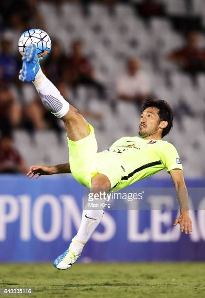 Yuki Abe of Urawa Red Diamonds controls the ball during the AFC Asian Champions League match between the Western Sydney Wanderers and the Urawa Red...
