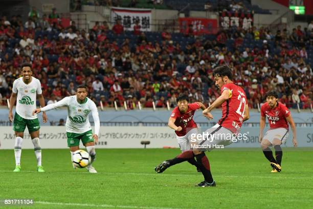 Yuki Abe of Urawa Red Diamonds converts the penalty to score the opening goal during the Suruga Bank Championship match between Urawa Red Diamonds...