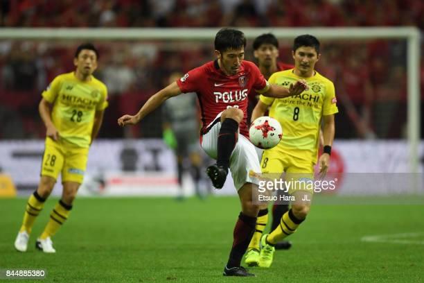 Yuki Abe of Urawa Red Diamonds in action during the JLeague J1 match between Urawa Red Diamonds and Kashiwa Reysol at Saitama Stadium on September 9...