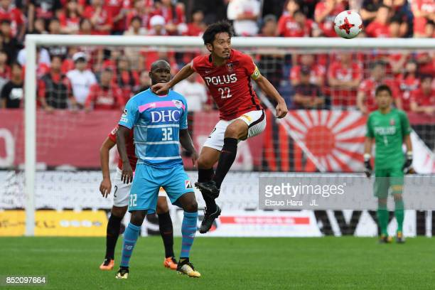 Yuki Abe of Urawa Red Diamonds in action during the JLeague J1 match between Urawa Red Diamonds and Sagan Tosu at Saitama Stadium on September 23...