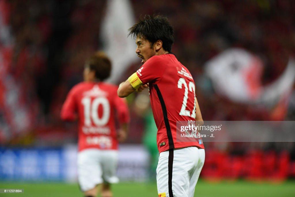 Yuki Abe of Urawa Red Diamonds reacts after scoring his side's first goal during the J.League J1 match between Urawa Red Diamonds and Albirex Niigata at Saitama Stadium on July 9, 2017 in Saitama, Japan.